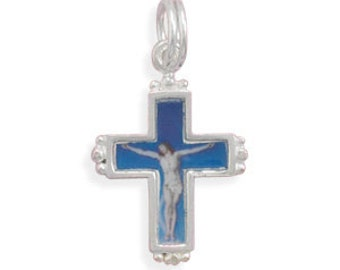 SALE - Crucifix Jesus Charm - 925 Sterling Silver
