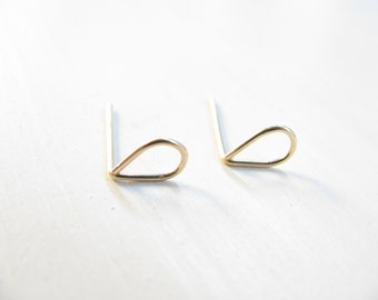 Teardrop post earrings, gold studs, tiny drop gold earrings, simple, minimalist earrings, small earrings, winter jewelry, gold fill