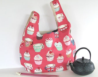 Knitting Bag, Project bag for Knitting, Crochet Tote Bag, Japanese Knot Handbag Gift for knitters - Cupcakes