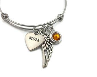 Memorial Bracelet, Loss of Mom, Memorial Jewelry, Sympathy Gift, Memorial Gift, Remembrance Bracelet, Bereavement Gift Angel Wing Birthstone