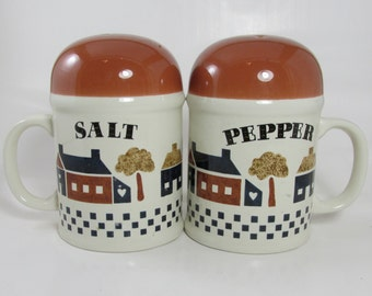 Large Salt and Pepper Shakers with House Scene