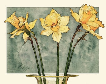 Daffodils Art Print, Daffodils, Daffodil Art Print, 8x10, Flower Art, Flower Illustration, Home Decor