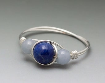 Lapis Lazuli & Angelite Sterling Silver Wire Wrapped Ring - Made to Order, Ships Fast!
