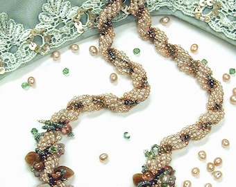 Tea Rose Bead Weaving Necklace Kit by Ann Benson