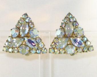 Vintage Aurora Borealis Clip Earrings (E-2-4)