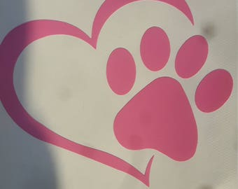 Cat paw decal, love my cat