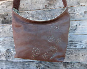 Green and Brown eco leather bag