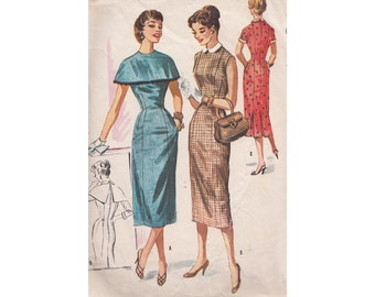 Misses 50s Sheath Dress with Detachable Collar, Cuffs and Cape McCalls 3717 Size 12 Bust 30 Vintage 1956 Sewing Pattern