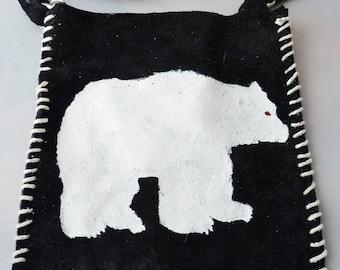 L'ours polaire blanc, lourd crache en daim, amérindien, regalia, pow-wow, pau wau, soho, boho, drum circle, sac à main tambour moyen, étui souple