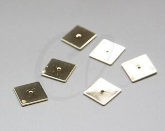 2pcs Premium Gold Plated Brass Base Flat Square Spacer - 10x10mm (3043C-Q-364)