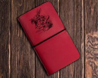 Alice in Wonderland paperback journals, Alice Rabbit Madhatter diary, girl notebook, Antiqued Journal, vintage, white rabbit