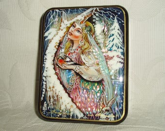 "Russian Lacquer box Mother of pearl ""Snow Maiden in winter forest"" Hand Painted"