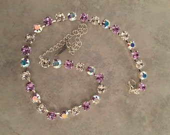 Lilac, aurora borealis and clear Swarovski crystals necklace
