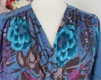 1970s 80s Dress - Floral Graphic Feminine Long Sleeve Day Dress - Belted - Vintage Midi Dress - A-line Skirt - Blue Brown Pink - Size Medium