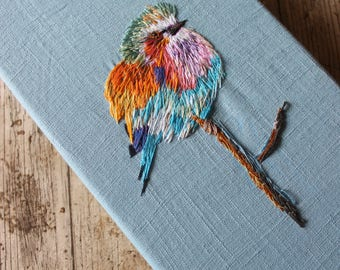 lilac crested roller, lilac breasted roller, canvas, canvas art, thread painting, bird painting, bird art,