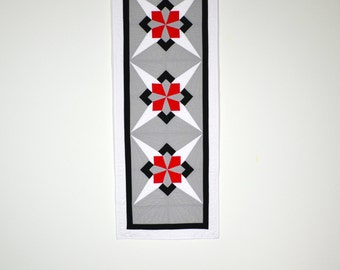 Geometric Table Runner, Table Decor, Quilted Table Runner, Red Black Grey, Modern Table Runner