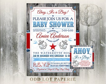 Nautical Baby Shower Invitation Printable Ahoy it's a Boy, Rustic Wood Red White and Blue, DIY Invite Anchors Nautical Star Swallow Birds