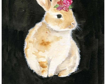 Bunny Painting - LARGE 13x19 - Dainty Bess - watercolor painring - fine art print