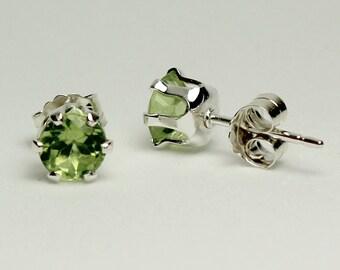Natural Peridot Earrings Sterling Silver / Stud Peridot Earrings
