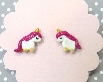 Pink Unicorn Earrings, Unicorn Stud Earrings, Kawaii Earrings, Hypoallergenic, Cute Girls Earrings