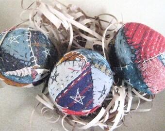 Primitive FOLK ART EGGS--Set of 3 Handcrafted from Vintage Quilt Folk Art Eggs