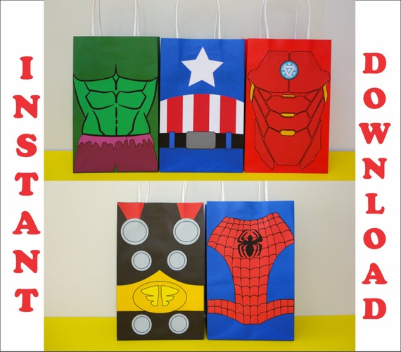 Avengers FAVOR BAGS Avengers Party Bags Avengers Birthday