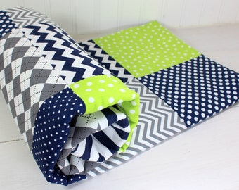 Baby Blanket, Nursery Decor, Patchwork Quilt, Minky Baby Blanket, Baby Shower Gift, Chevron, Navy, Gray, Grey, Lime Green, Lime, Baby Boy