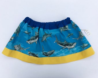 Shark skirt, girls skirt size 2T, girls skirt size 3T