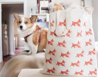 Corgi Print Canvas Tote Bags