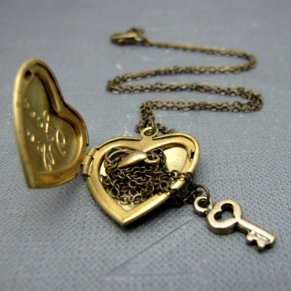 Fantastic I Love You Locket Necklace // Brass Heart Locket // Tiny Brass LV86