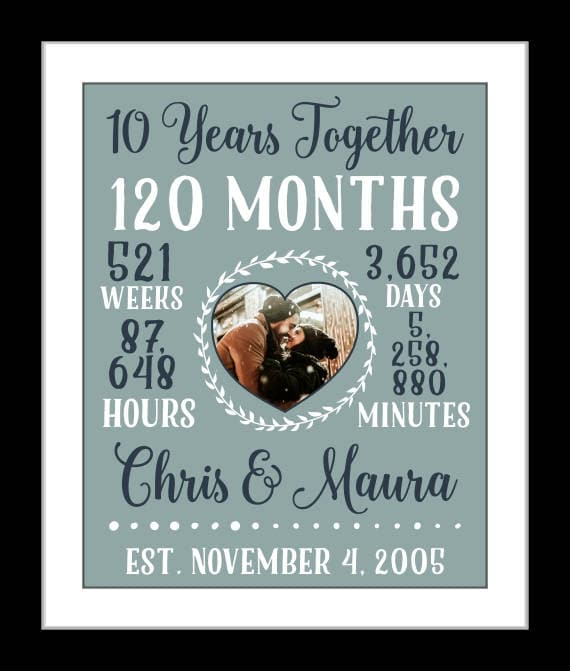 10 Year Wedding Anniversary Gift Ideas For Couple: 10 Year Anniversary Gift For Couple 10th Wedding Anniversary