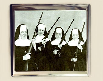 Nuns with Guns Cigarette Case Business Card ID Holder Wallet Nun Retro Kitsch Campy