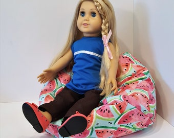 American Girl/Maplelea or 18 in Doll Furniture Bean Bag Chair Watermelon Slices