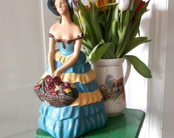 Vintage chalkware/plaster Crinoline Lady figure.