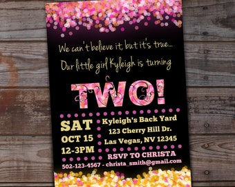 Pink and Gold 2nd Birthday Invitation | Pink and Gold Confetti Invitation | 2nd Birthday Invitation, Girls Second Birthday Invitations