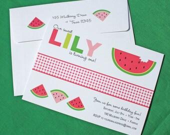 Watermelon Invitation - Watermelon Birthday Invitations - Watermelon Party Invitations - Picnic Party Invitations