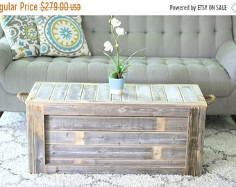 SALE Natural Unfinished Coffee Table with Rope Handles