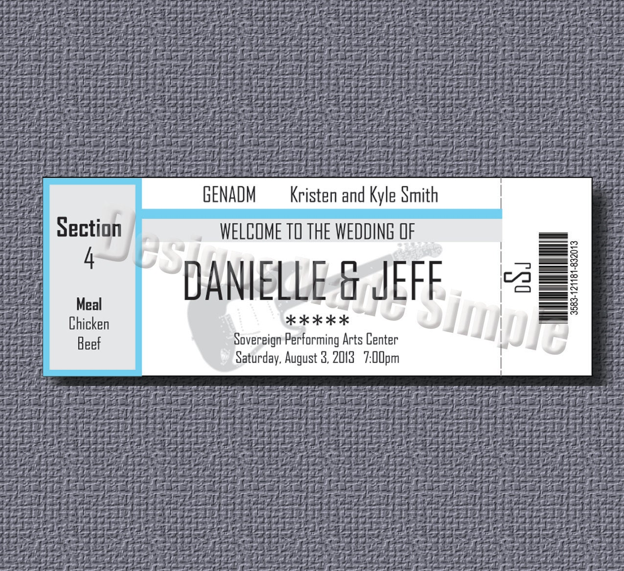 Concert Ticket Wedding Place Cards Printables - Wedding invitation templates: wedding place card size