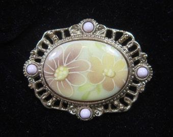 Vintage Porcelain Flower Brooch  - BR-515 - Porcelain Brooch