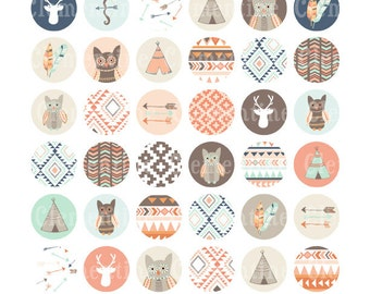 Tribal bottle cap images, bottlecap images, one inch circles, royalty-free, digital collage sheet- Instant Download
