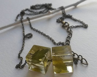 Resin Green  Necklace with dried leaves