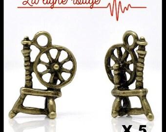 5 pendants charms spinning wheel bronze 18 mm x 12 mm