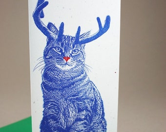 Rudolph Cat Merry and Bright Holiday Cards - 10 Pack, Cute Cat Cards