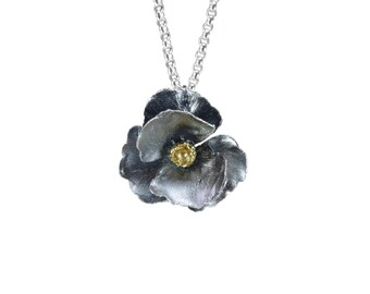 Oxidized sterling silver poppy pendant necklace
