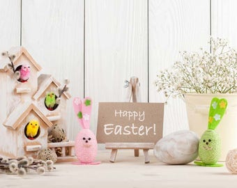 Vinyl Cartoon Easter Rabbits Egg Wood Photography Studio Backdrop Background