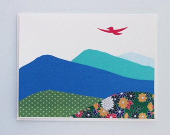 Handmade card - Dream big, fly high! - bird flying over mountains - Congratulations card by Emily Lin