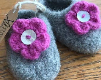 Hand Knit and Felted Baby Bootie