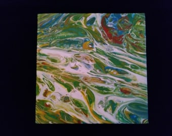 Fluid Art Painting 6x6 Gallery Wrapped Canvas Original