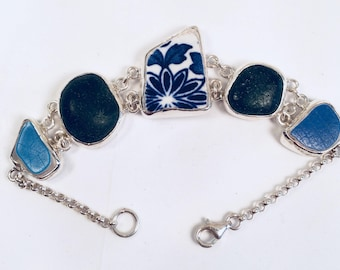 Sea pottery and sea glass bracelet.