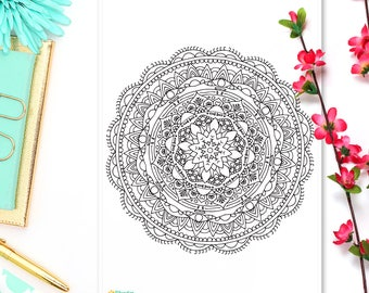 Adult Coloring Page Sticker • June Mandala • Coloring Sheet • Mandala Art • Bohemian Coloring Sticker • Boho Sticker • A5 Page